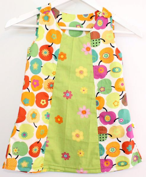 Baumwoll-Kleid Blumen-Apfel Gr.92/98