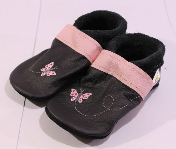 Lederpuschen Gr.25 Schmetterling schwarz rosa