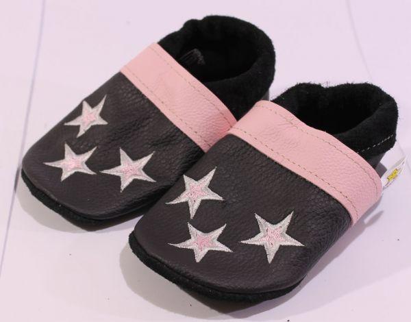 Lederpuschen Gr.24 Sterne schwarz rosa