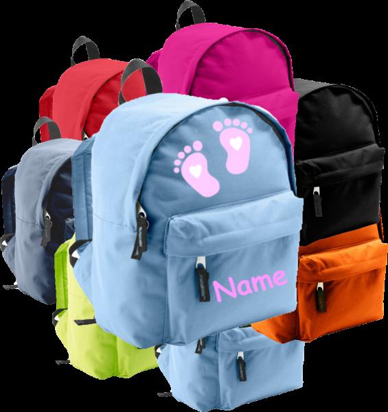Rucksack in 2 Größen aus Stoff Model: Füße rosa