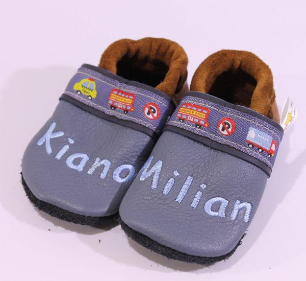 Lederpuschen Gr.20 mit Name Kiano Milian