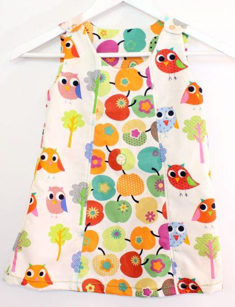 Baumwoll-Kleid Vögel-Apfel Gr.92/98