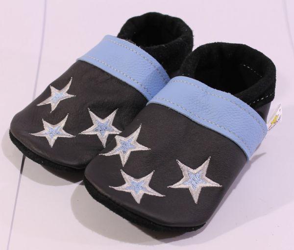 Lederpuschen Gr.24 Sterne schwarz blau