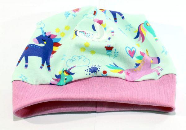 Bündchen-Mütze Einhorn mint / rosa
