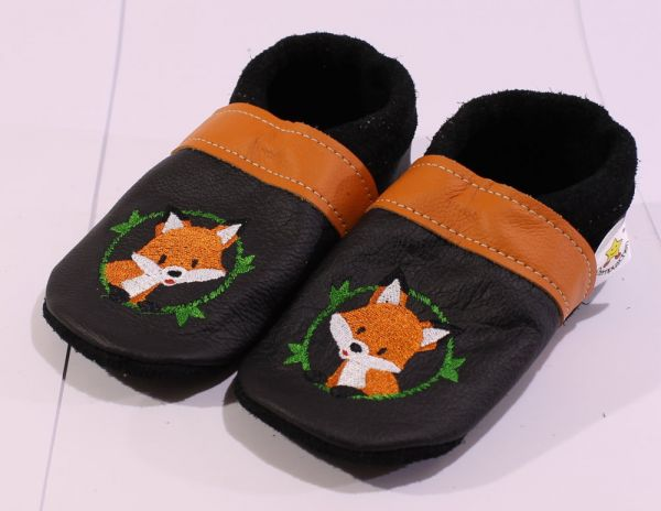 Lederpuschen Gr.26 Fuchs schwarz orange