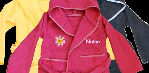 Bademantel mit Name und Motiv: Blume