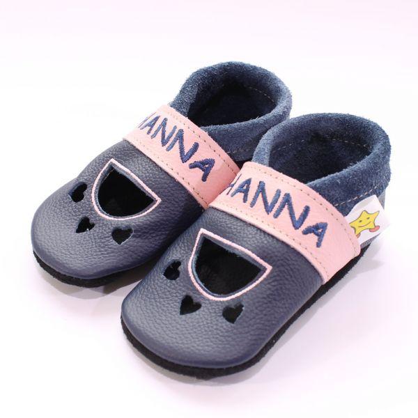 Lederpuschen Model: Sandale blau/rosa