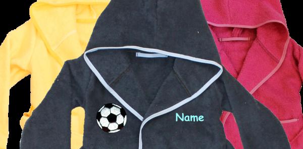 Bademantel mit Name und Motiv: Fussball
