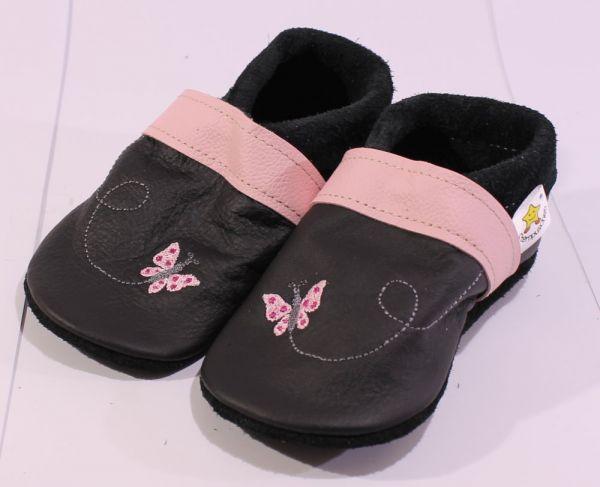 Lederpuschen Gr.26 Schmetterling schwarz rosa