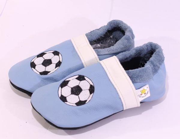 Lederpuschen Gr.32 Fußball hellblau weiß