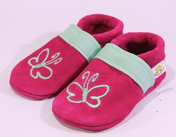 Lederpuschen Gr.24 Schmetterling pink mint Wildleder