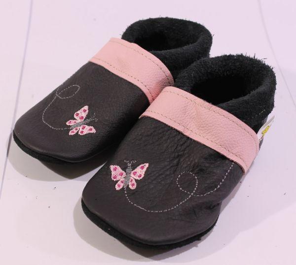 Lederpuschen Gr.24 Schmetterling schwarz rosa
