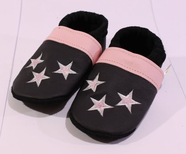 Lederpuschen Gr.26 Sterne schwarz rosa