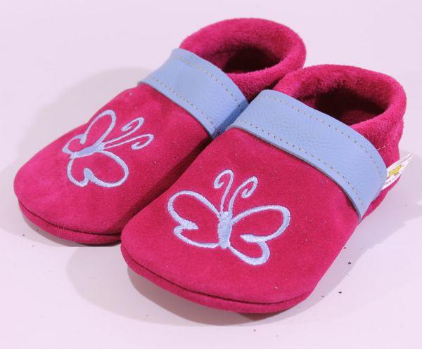 Lederpuschen Gr.24 Schmetterling pink blau Wildleder