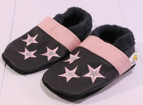 Lederpuschen Gr.25 Sterne schwarz rosa