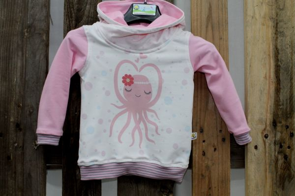 Kapuzen-Pullover weiß/rosa mit Krake