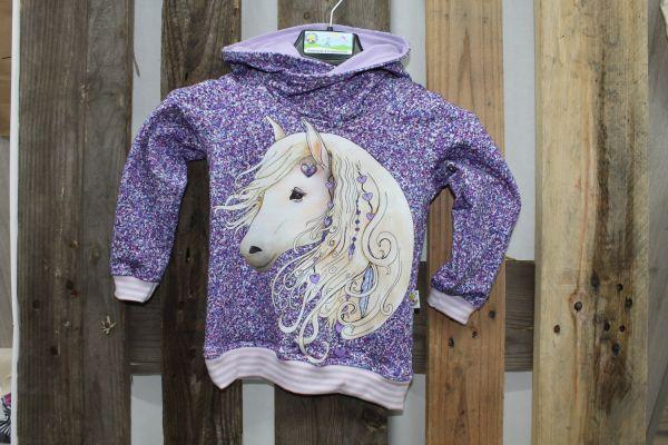 Kapuzen-Pullover lila mit Pferdekopf