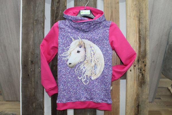 Kapuzen-Pullover lila/pink mit Pferdekopf