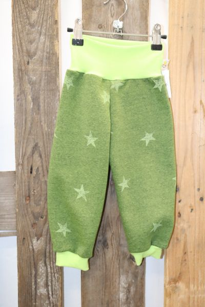 Kinderhose Gr. 80 Sweat Sterne grün