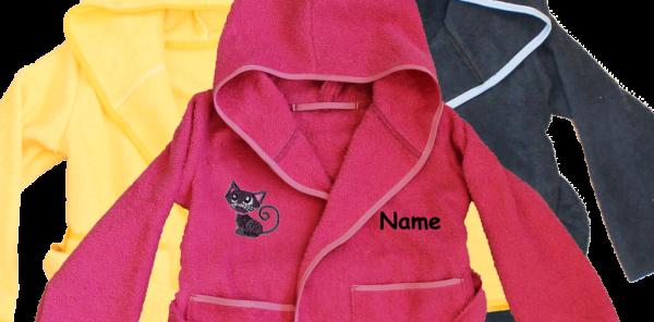 Bademantel mit Name und Motiv: Katze