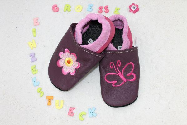 Lederpuschen Gr.25 Schmetterling mit Blume