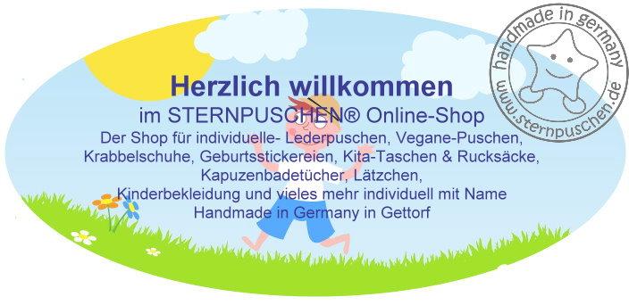 low priced 081b9 48d99 Sternpuschen - Lederpuschen, Krabbelschuhe, personalisierte ...