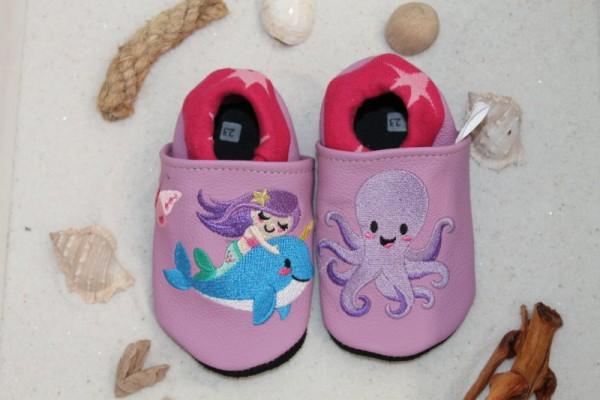 Krabbelschuhe mit Softbündchen Meerjungfrau