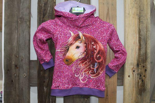 Kapuzen-Pullover pink mit Pferdekopf