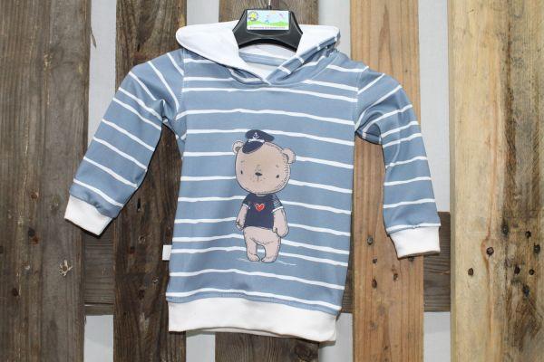 Kapuzen-Pullover blau gestreift mit Teddy