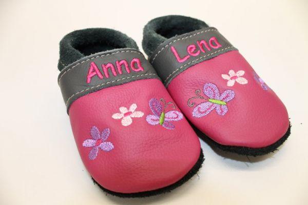 Puschen aus Leder Gr.21 mit Namen Anna Lena