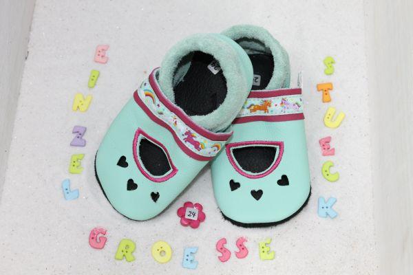 Lederpuschen Gr.24 Sandale