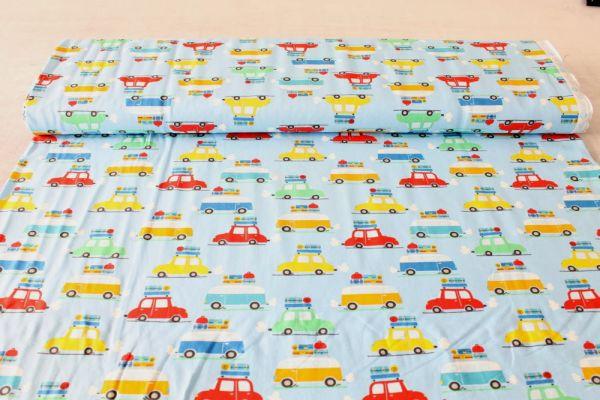 Baumwoll-Jersey Bunte Autos auf blauem Stoff