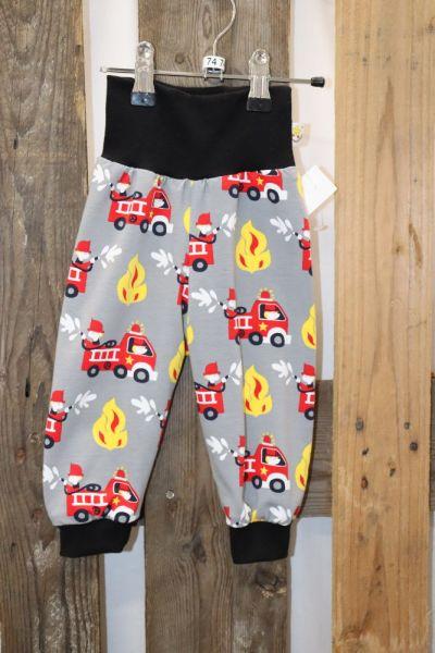 Kinderhose Gr. 74 Jersey Feuerwehr auf grau