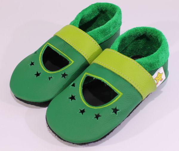 Lederpuschen Model: Sandale grün/hellgrün
