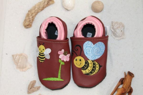 Lederschühchen mit Softbündchen Biene